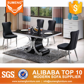 Malaysia Hot Sale Black Rectangle Marble Steel Base Dining Table Set Cheap Room