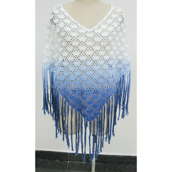 Machine Crochet Cotton Ladies Ombre Dye Poncho Buy Crochet Poncho