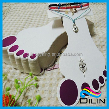 showing design with detail display foot custom card product bracelet hanging shape anklet