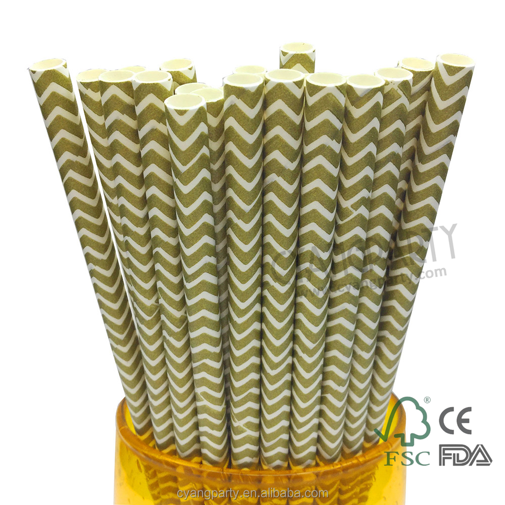 Cyang Disposable Biodegradable Paper Color Cool Drinking Chevron Striped Gold Straws 25ct 197mm