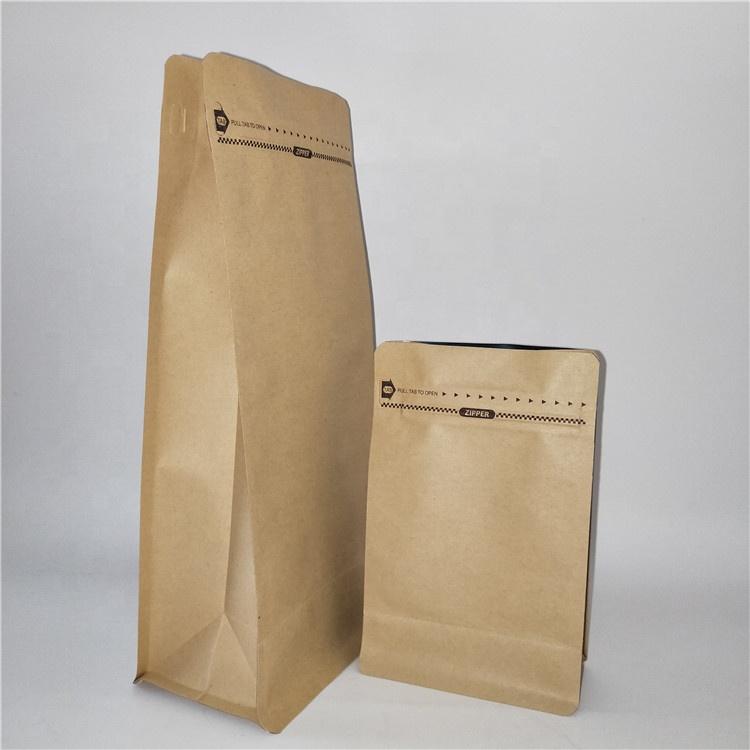 Eco Vriendelijke 250g, 500g, 1 kg 8 Zijden Afgesloten Vlakke Bodem Rits Koffie Hersluitbare Kraftpapier Zak met Klep
