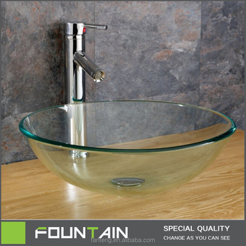 Hangzhou Manufacture Glass Sink Combo Counter Top Washing Basin Round Shape Tempered  Glass Vessel Sink