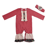 Hot sale baby girls long sleeve white polka dot lace ruffle boutique baby romper