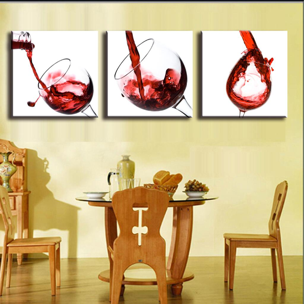 wine wall art decorating dining room | 3-Pictures-Framed-Canvas-Painting-Home-Decor-Wall-Painting ...