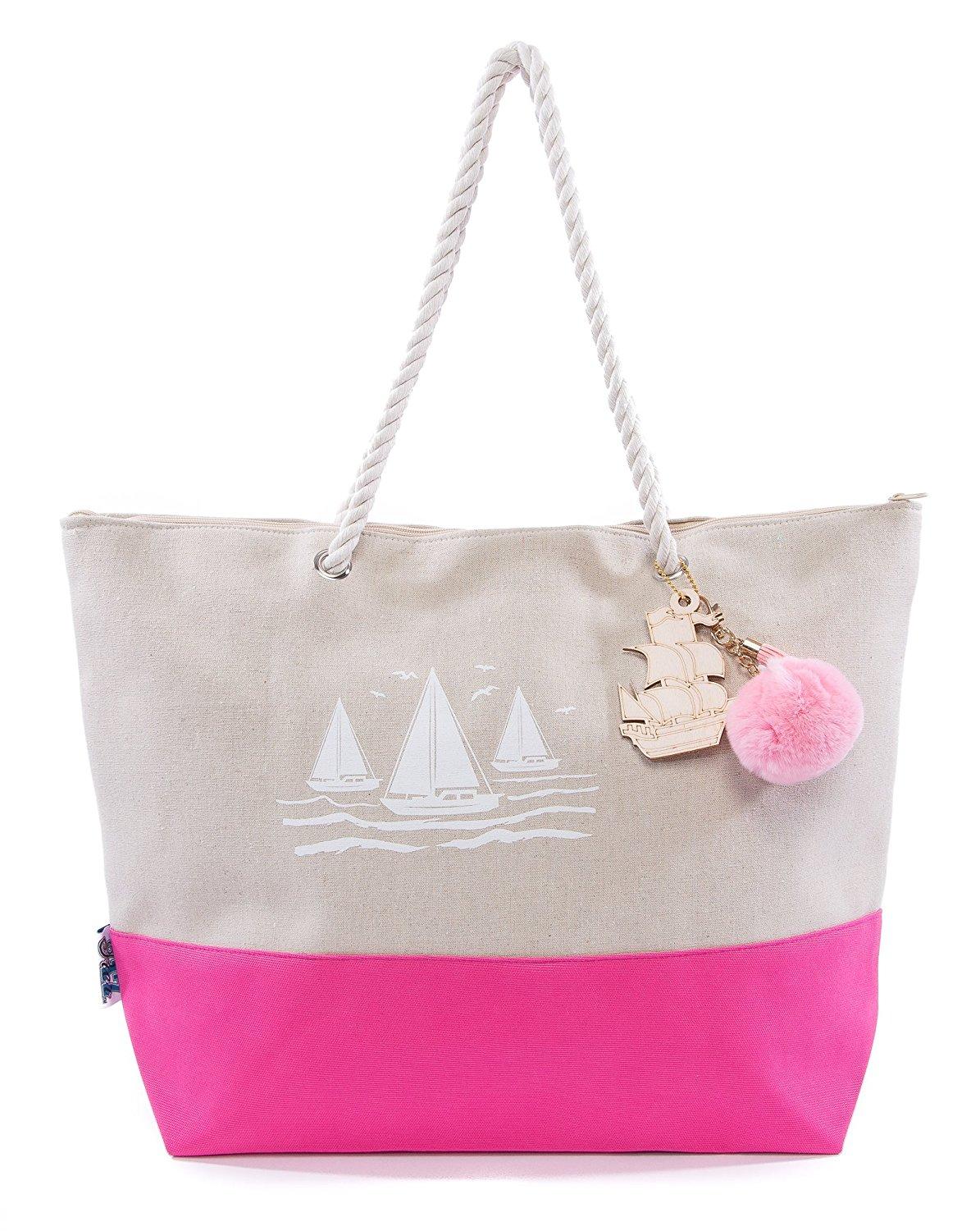 Pier 17 Canvas Beach Bag Is Good For Travel And Beach With Zipper And Pockets