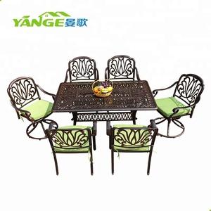 Salon de jardin cast aluminum table and chair outdoor furniture