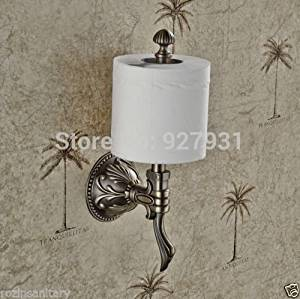 ZWBD Luxury Creative Wall Mount Upright Roll Toilet Paper Holder Antique Brass Finished Bathroom Toilet Roll Paper Rod
