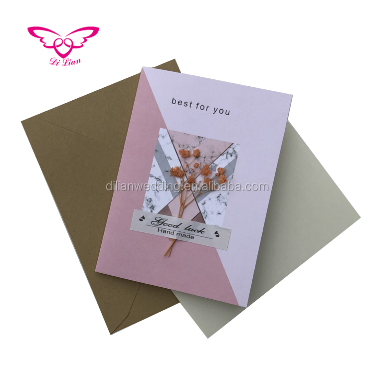 Fancy Paper Cards With Dried  Leaves Best For You Handmade Birthday Cards