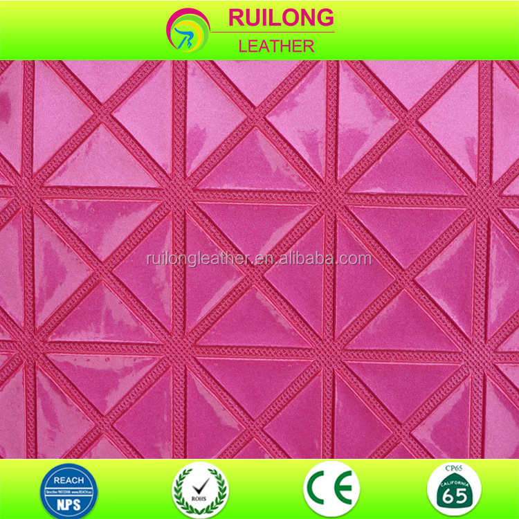 Rice character design triangle pattern pvc leather