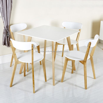Scandinavian Solid Oak Wood White Dining Chairs With White MDF Seat