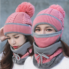 Women Winter Hat and Scarf Set Warm Lady Collar Pom Beanie Sets Fashion Warm Knit Hat Scarf Set Women Comfortable Scarf