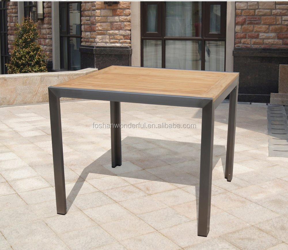 Acero Inoxidable Muebles De Teca Cuadrados Mesa 90 90 Cm Conjuntos  # Muebles Cuadrados