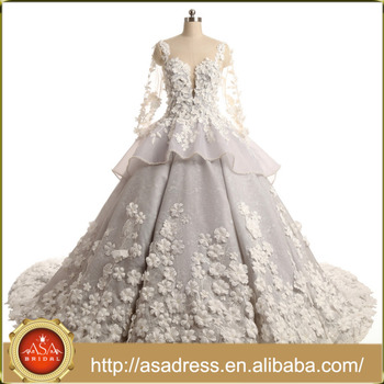 Real Samples Flowers Luxury Princess Long Sleeves Muslim Bridal Gowns Cathedral Train Wedding Dresses Asaw003