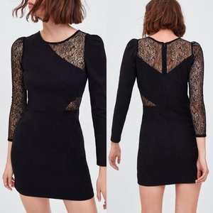 Latest Fashion Cutting Long sleeve Sexy Party Office Lady Mini Black Dress Lace Summer Women Young Girl Casual New Designs