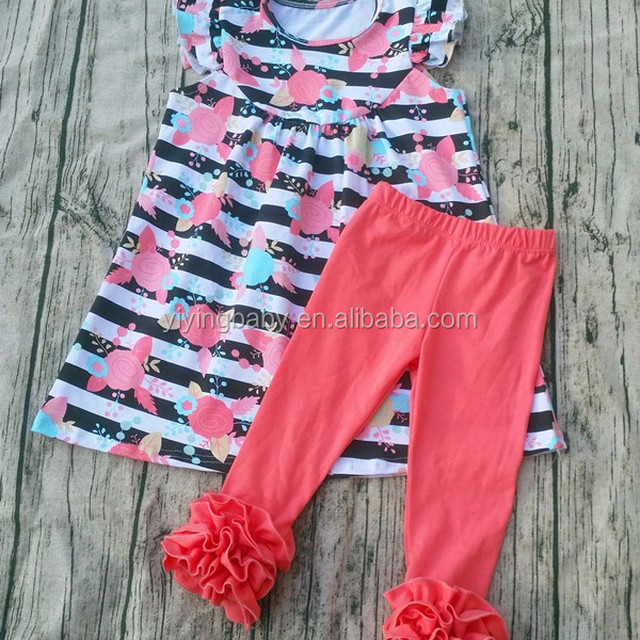 1f8cbef1b099 Wholesale kid clothes 2017 summer girls boutique clothing flutter sleeve  flower pattern dress and leggings Baby