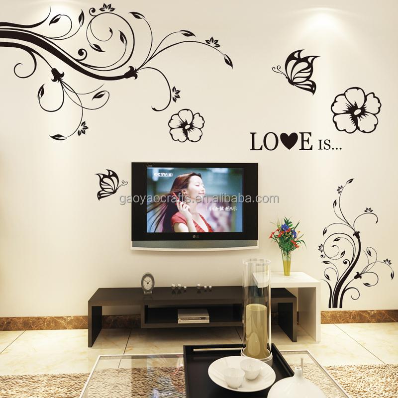 Romantique noir fleur de vigne papillon 3d stickers muraux accueil salon chambre tv canapé fond décorations