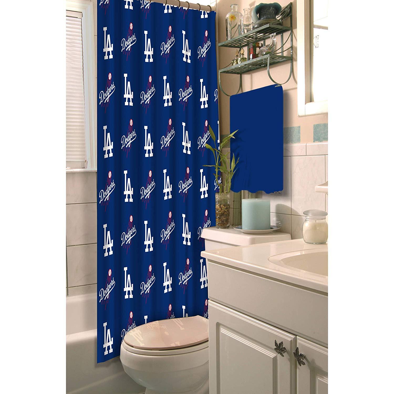 84f25656 Get Quotations · TN 1 Piece Blue White Dodgers Shower Curtain 72x72 Inch,  Baseball Themed Bathroom Decoration Team