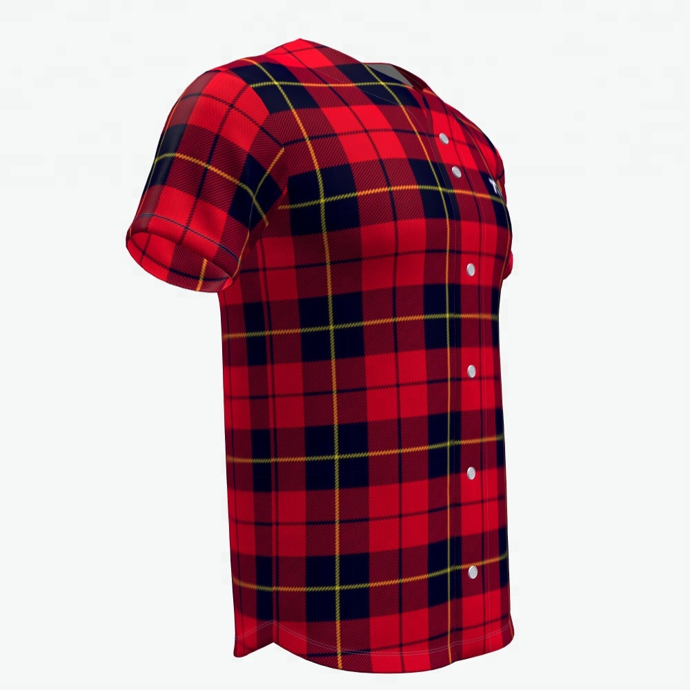Bedrukking diy Rode plaid heren baseball team jersey