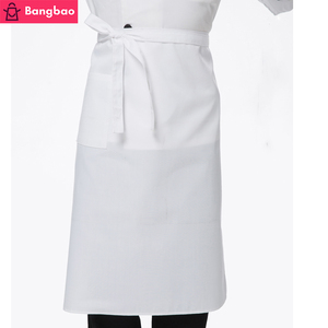 white apron customized logo kitchen waterproof polyester-cotton half apron