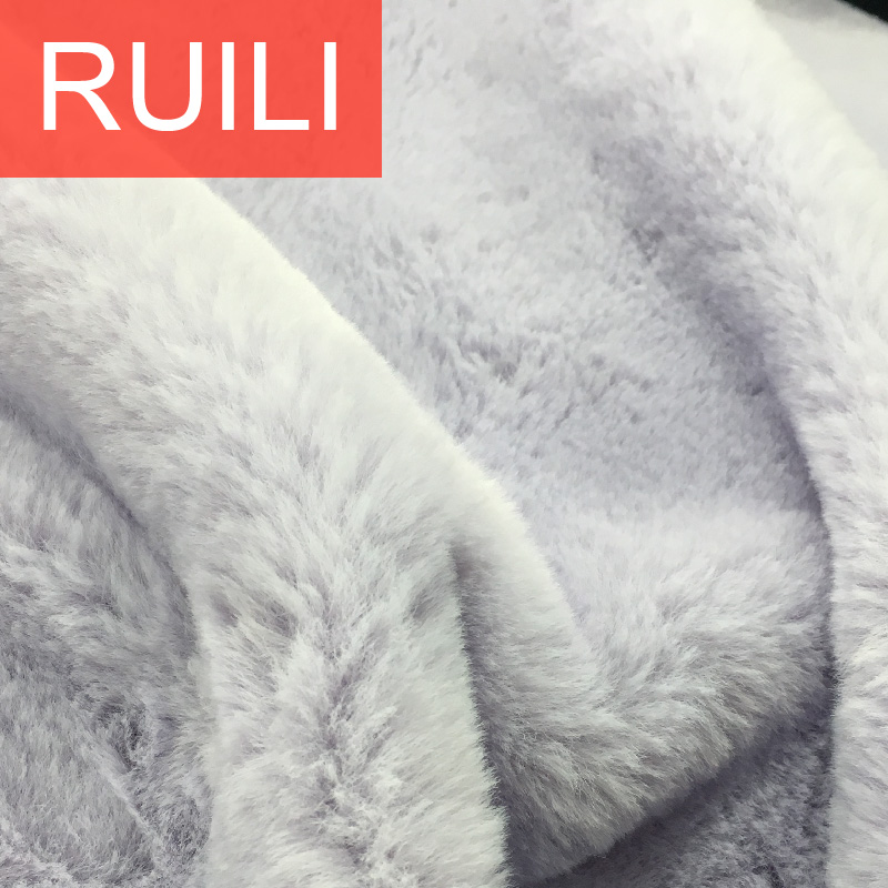 heavy knitted fake rabbit fur fabric with polyester material