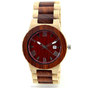Winder designer affordable bamboo blade Wooden watch W109B