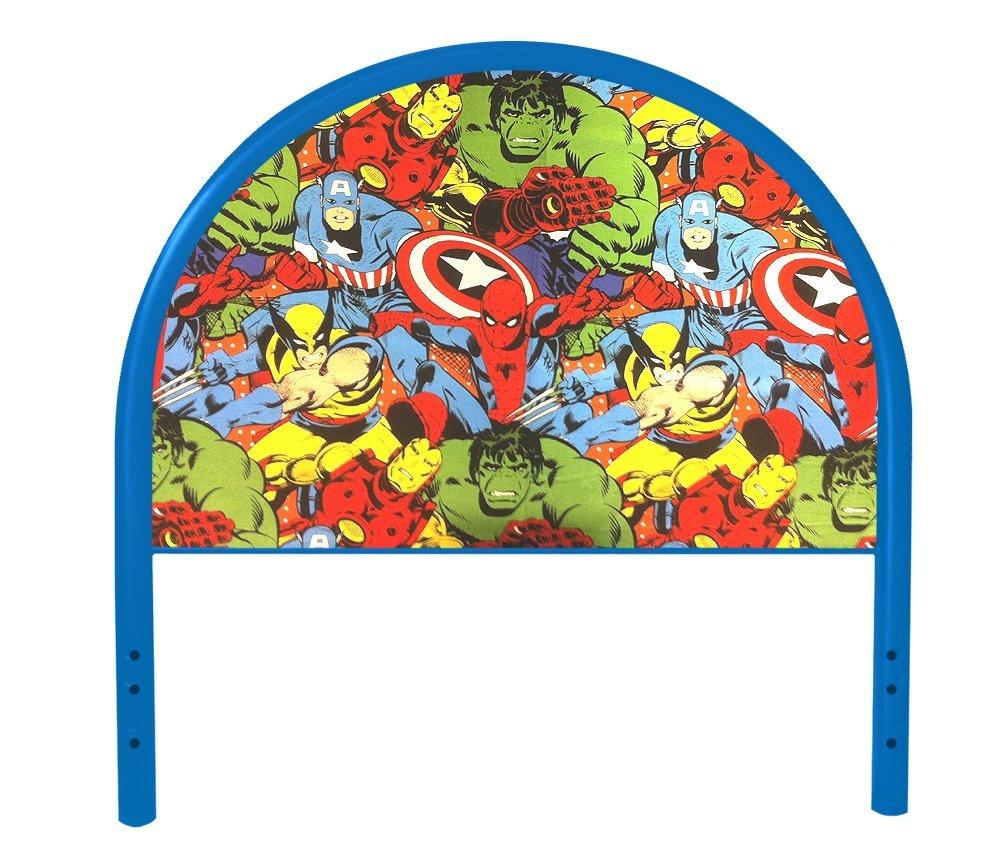 New Twin Size Children's Youth Blue Metal Headboard with Custom Avengers Superheros Upholstered Headboard