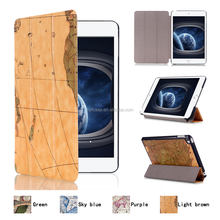Hotting High-grade world map pattern PU Leather Flip Back Cover tablet Case for ipad mini 4