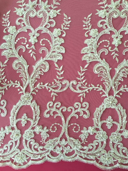 hand embroidery designs bridal wedding dress mesh beaded lace fabric
