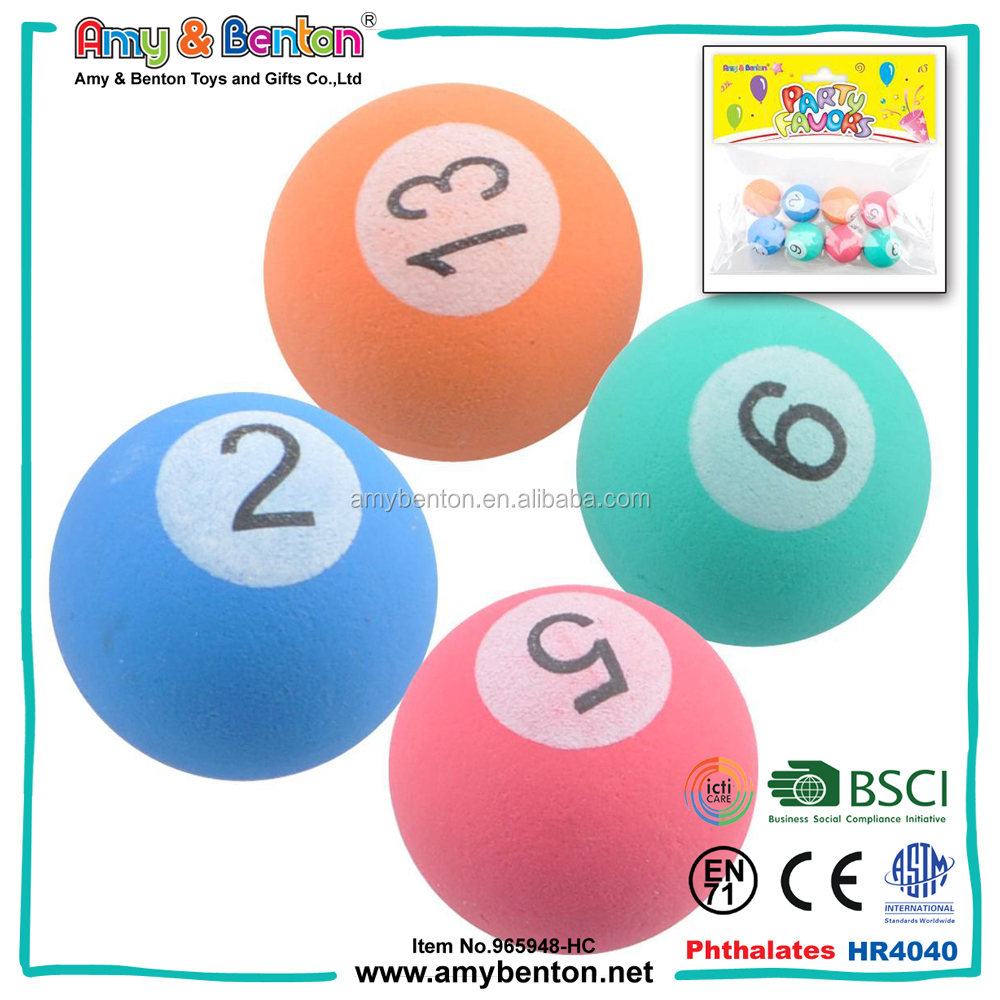 27mm Rubber Number Bouncing Ball Colorful Bounce Ball