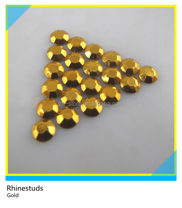 Hotfix Rhinestuds Iron On Aluminum Metal Gold Flatback Studs For Woman vest Decoration Ss10 3mm