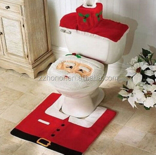 3pcs Happy santa toilet seat cover, rug bathroom set, christmas decoration