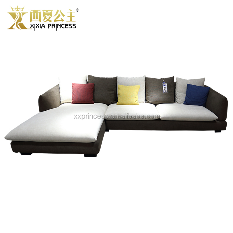 Factory one piece MOQ living room furniture sectional sofa, corner modular sofa with chaise lounge