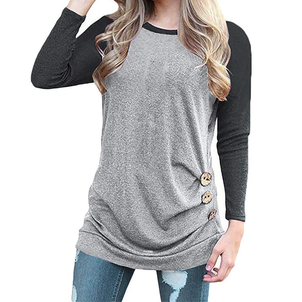 Ourhomer  Clearance Sale! Womens Plus Size Long Sleeve Empire Waist Lace Splicing Tunic Pullover Tops Casual Shirt