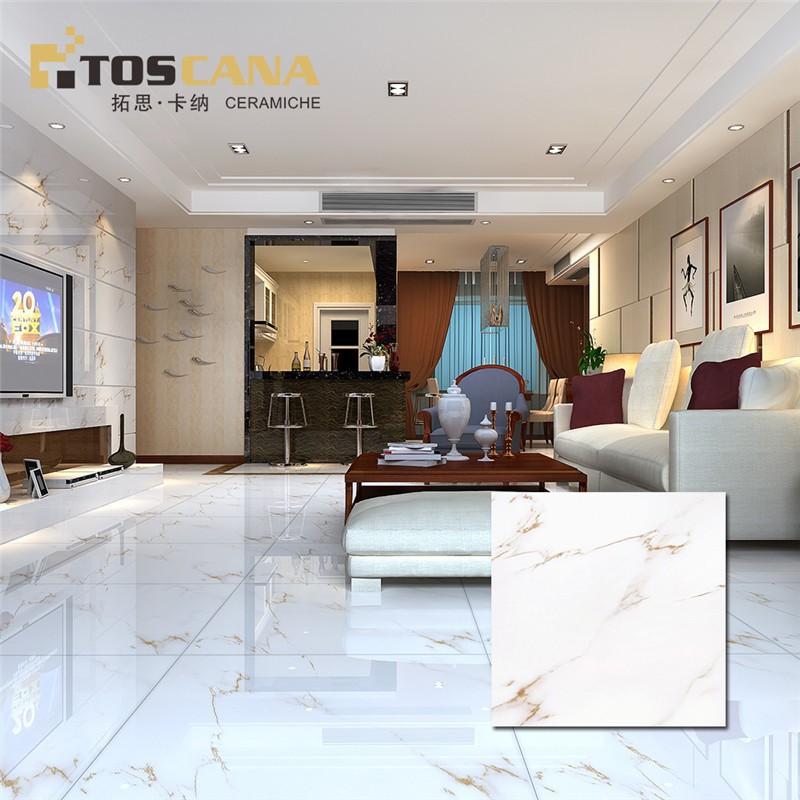Glazed Porcelain Tile Gloss White Floor Tile Exterior Flooring Stone