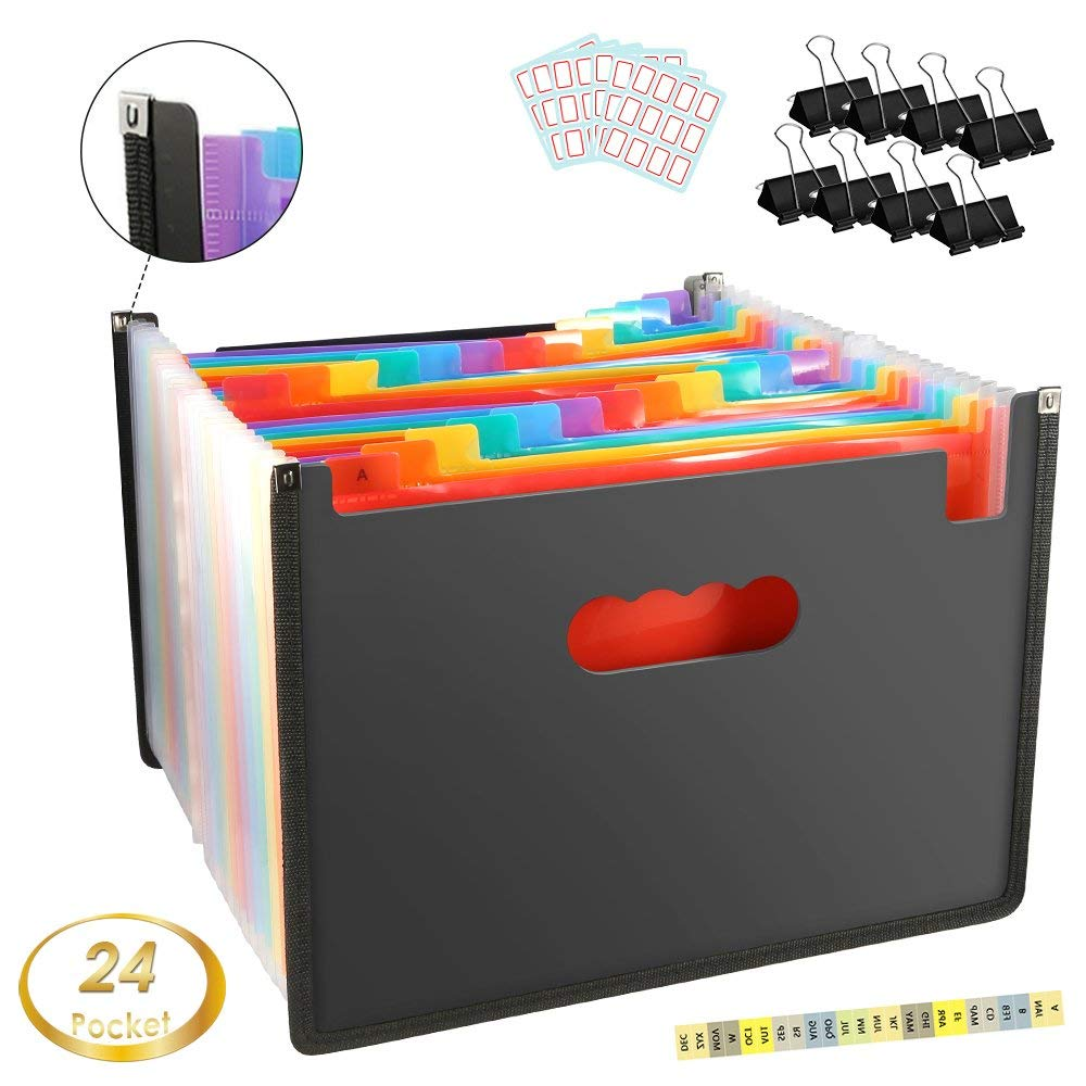 Zonama Multicolor 24 Pocket Expanding File Folder Organizer, Portable Expanding Wallets A4/Letter Size Document Organizer File Box for Office/Business/Home, Labels and Binder Clips Included
