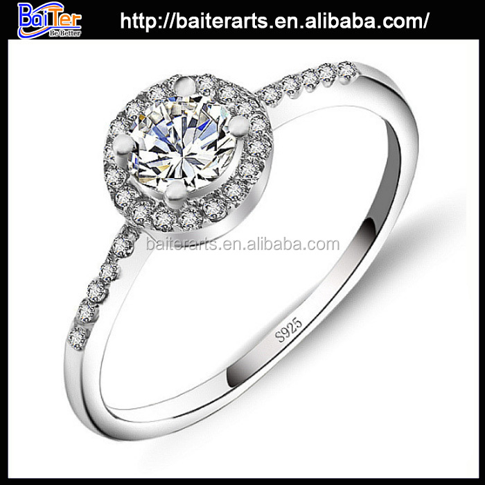 925 Sterling Silver Women One Round Switzerland Diamond Engagement