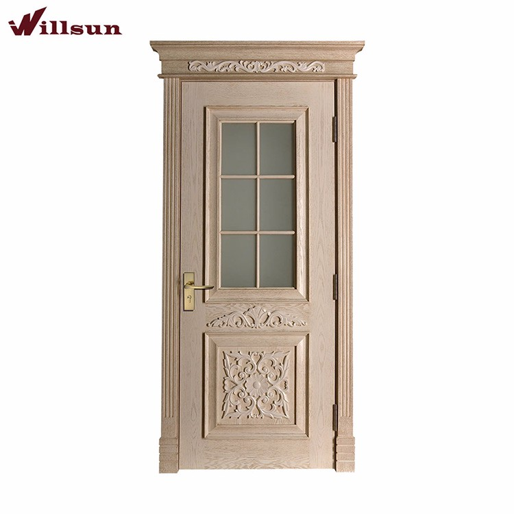 Beautifully Carved Wood And Glass Front Door With Simple Malaysian