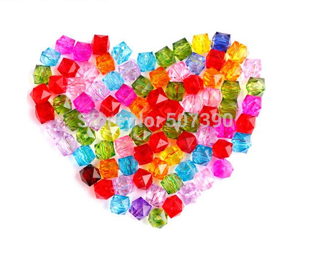 Wholesale 8mm 2200pcs Colorful Mixed Acrylic Beads,Clear Acrylic Spacer Ball Square Beads Fit Jewelry DIY,Free shipping