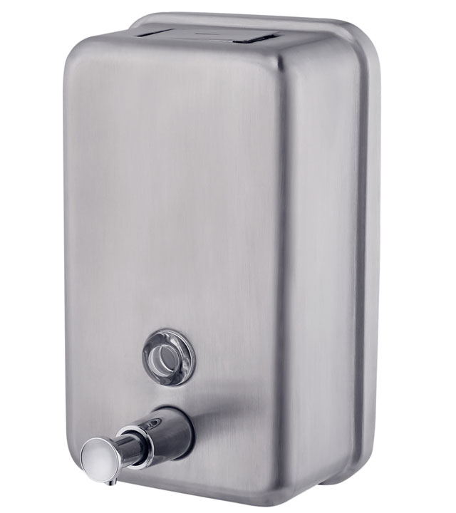 Power liquid soap dispenser stainless steel wall mounted soap dispenser with plastic canister