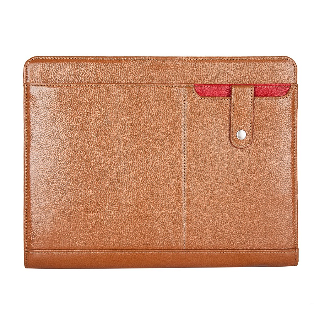 Custom Brown Business Letter Padfolio Personalized Leather Zip Document File Presentation Folders With phone case For Ipad