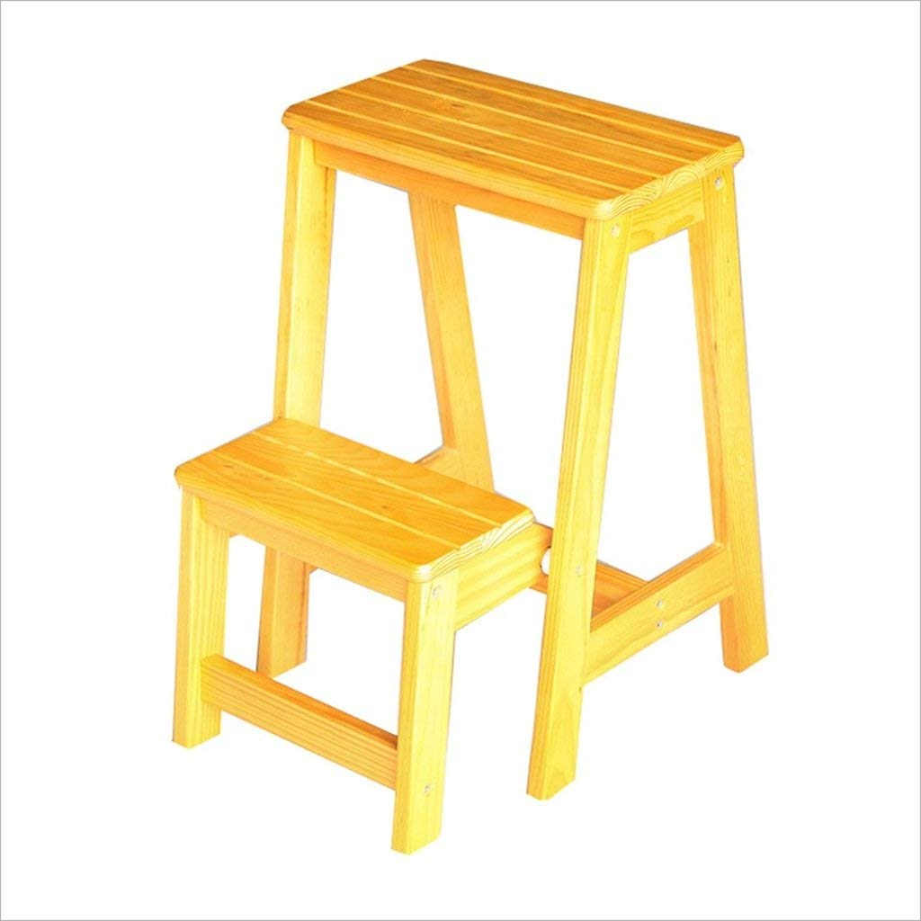 Get Quotations · Solid Wood Two Layers Ladder Stool The Two Step Climbing  Ladder Household Shelving Dining Chair Change