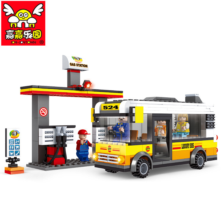 city bus stop service station educational toys 2015 building blocks set compatible with lego. Black Bedroom Furniture Sets. Home Design Ideas