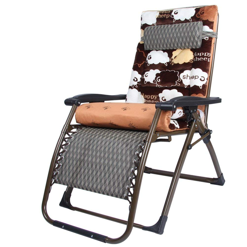 Rocking Chairs MEIDUO Folding Chair Zero Gravity Lounge Chair Padded Adjustable Recliner With Headrest Support 300kg (Color : Black grid)