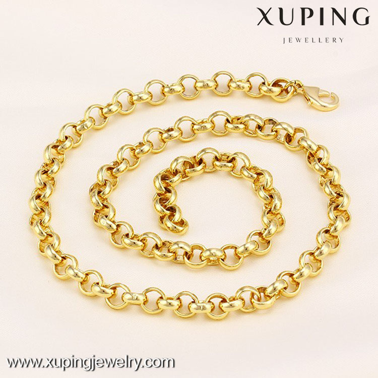 41554 Xuping 14k gold Women Men chain Necklace Fashion Round Chain Necklace