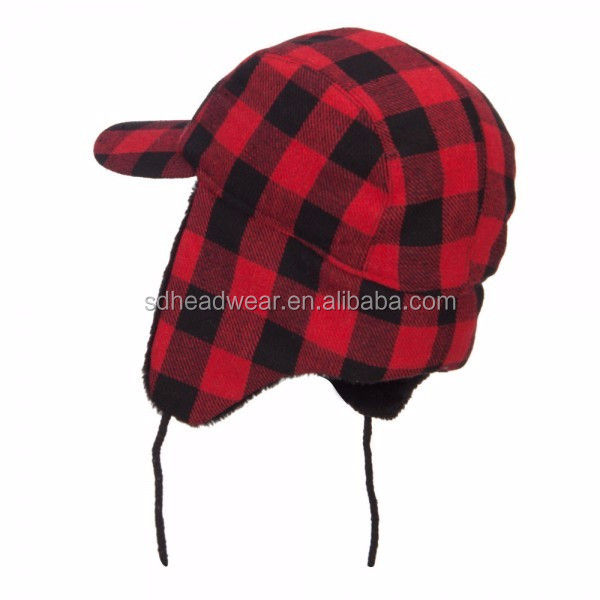 Ear Flap Winter Hats With Strings And Earflap Red Plaid Woolen Hat ... 95e149cd901