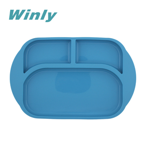 Winly FDA Food Grade Baby Feeding Tray Rectangle Three compartments Plate for Children Kids