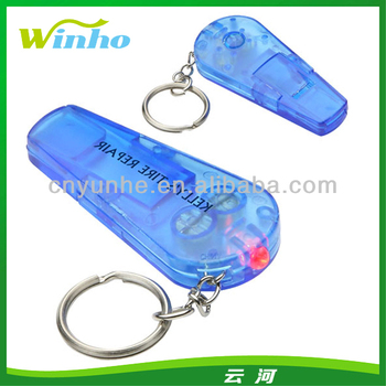 Clear Plastic Whistle Keychain Sound N Sight LED Key Chain