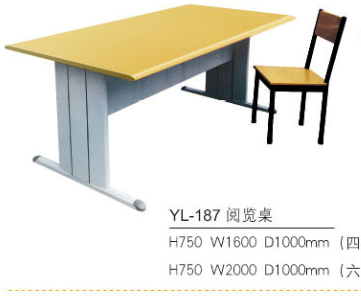 Library reading table with double seats/Hot sales adjustable school desk and chair sets for 2 students