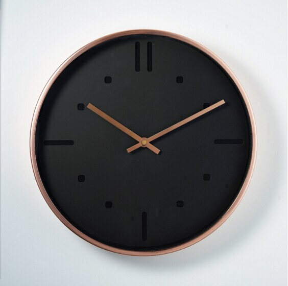 Copper Color Quartz Clocks Modern Design Metal Wall Clock for Kitchen Home Decoration