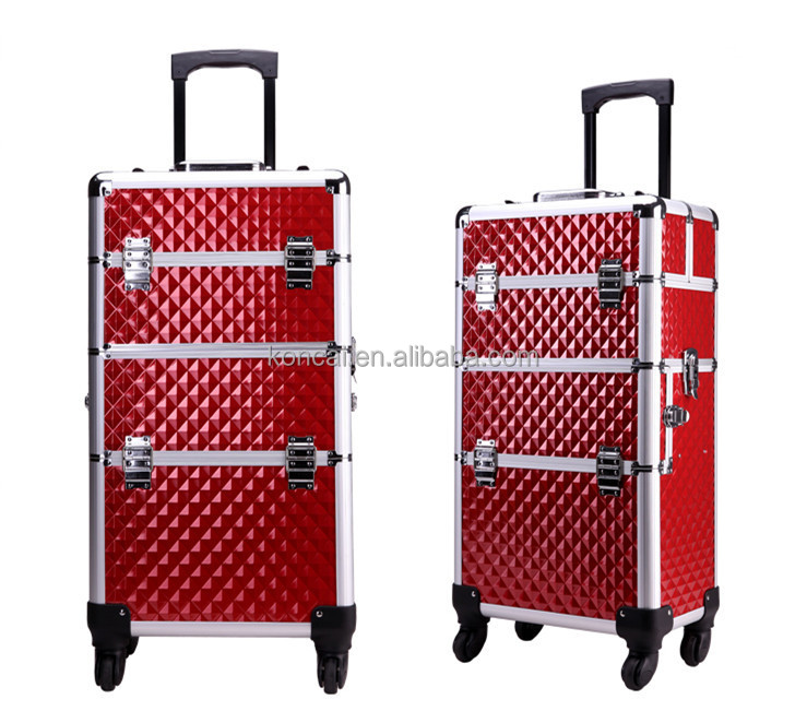 2 In 1 Professional Large Train Makeup Case Rolling Beauty With Or